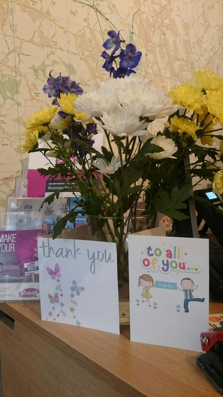 Flowers & thank you card