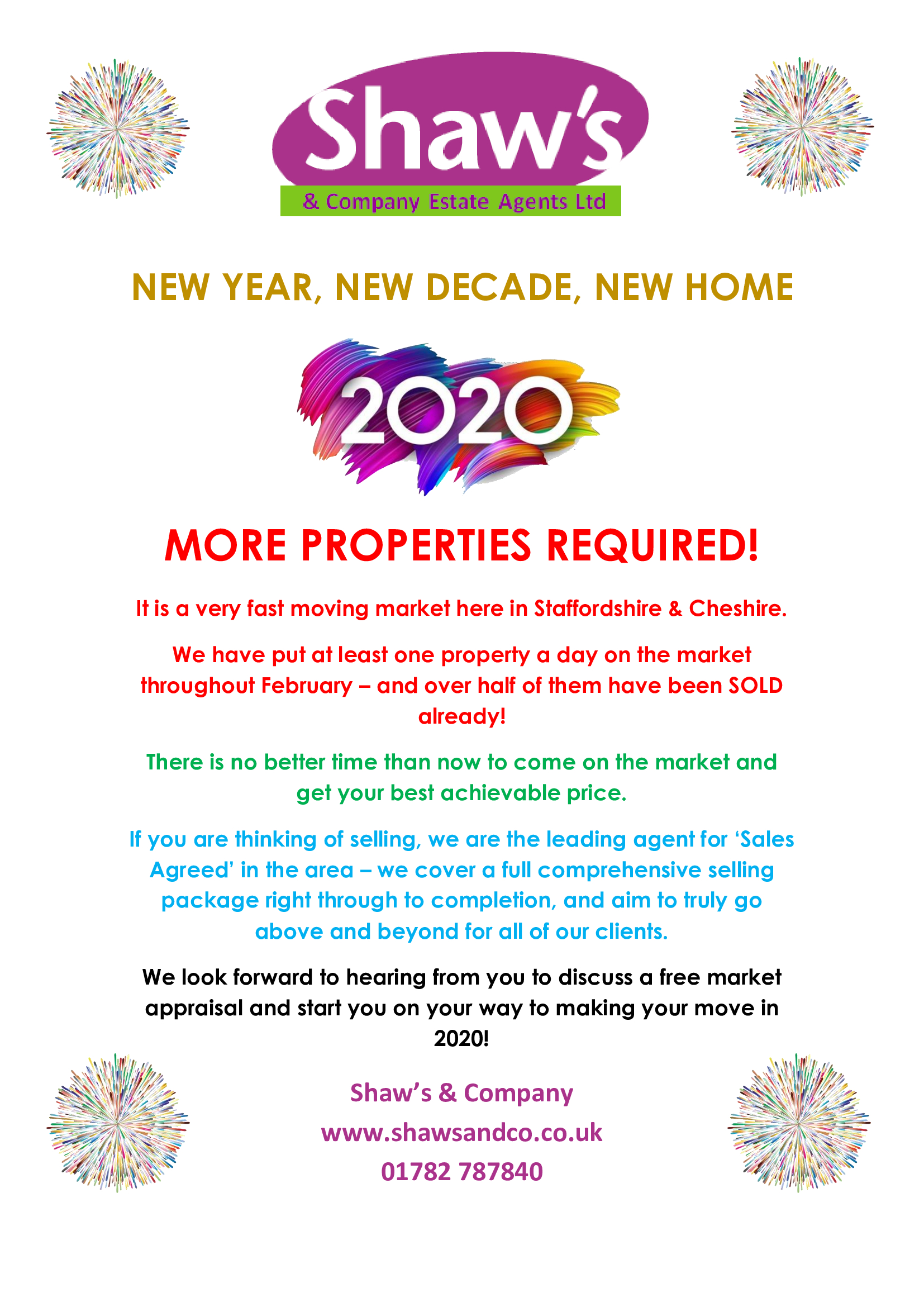 MORE PROPERTIES REQUIRED TO SELL!